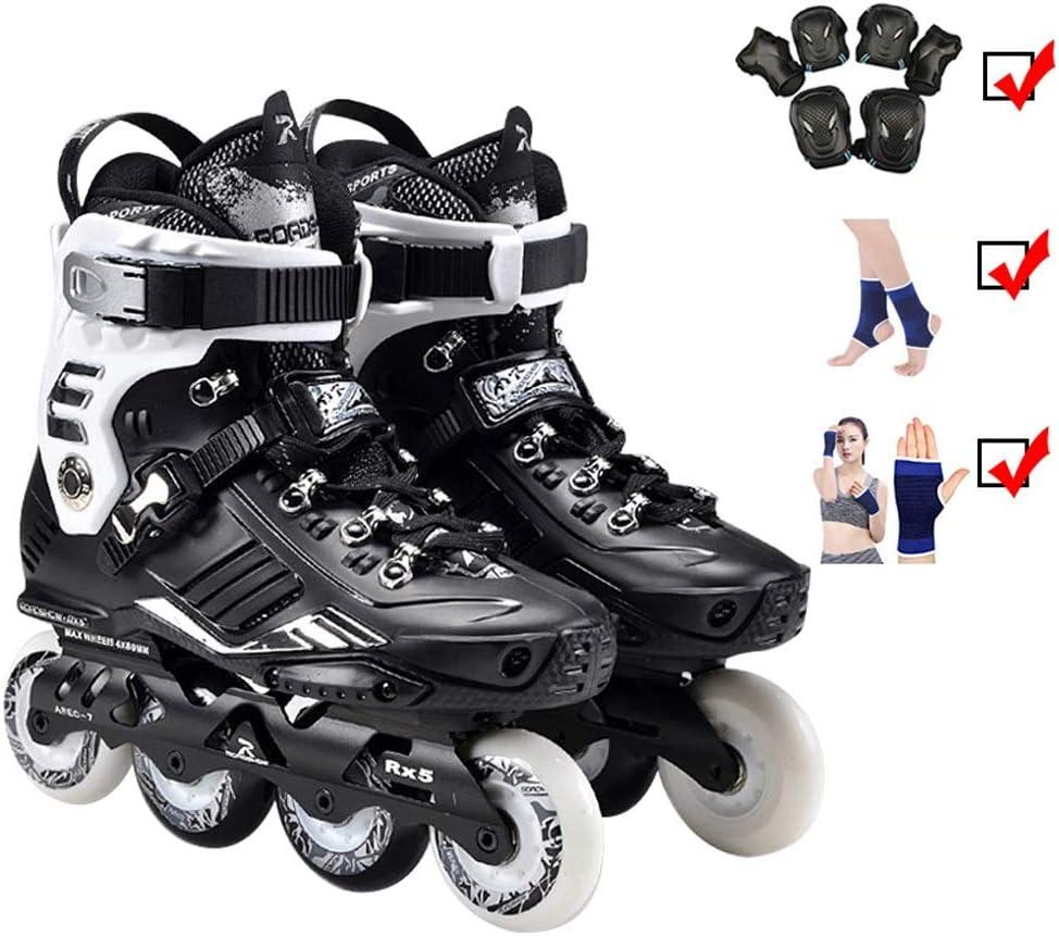 ZHANGHAIMING インラインスケート、初心者のための大人の大学スポーツの専門の速度のスケートの靴、白黒35-44のサイズ (色 : ブラック, サイズ さいず : EU 39/US 7/UK 6/JP 24.5cm) ブラック EU 39/US 7/UK 6/JP 24.5cm