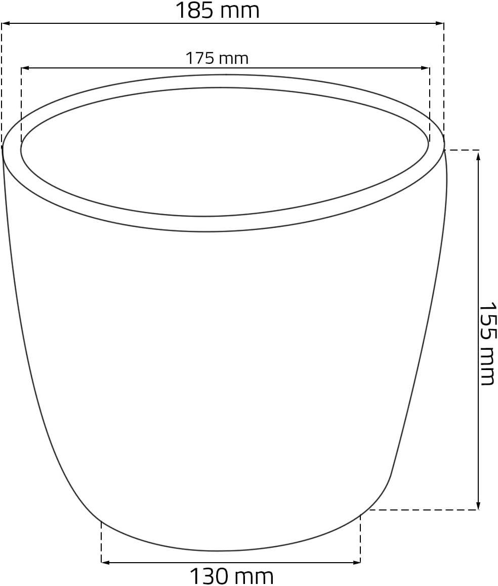 Blumentopf Kunststoff grau D 18,5 cm Muster H/äkelkorb Deko Topf Blumenk/übel