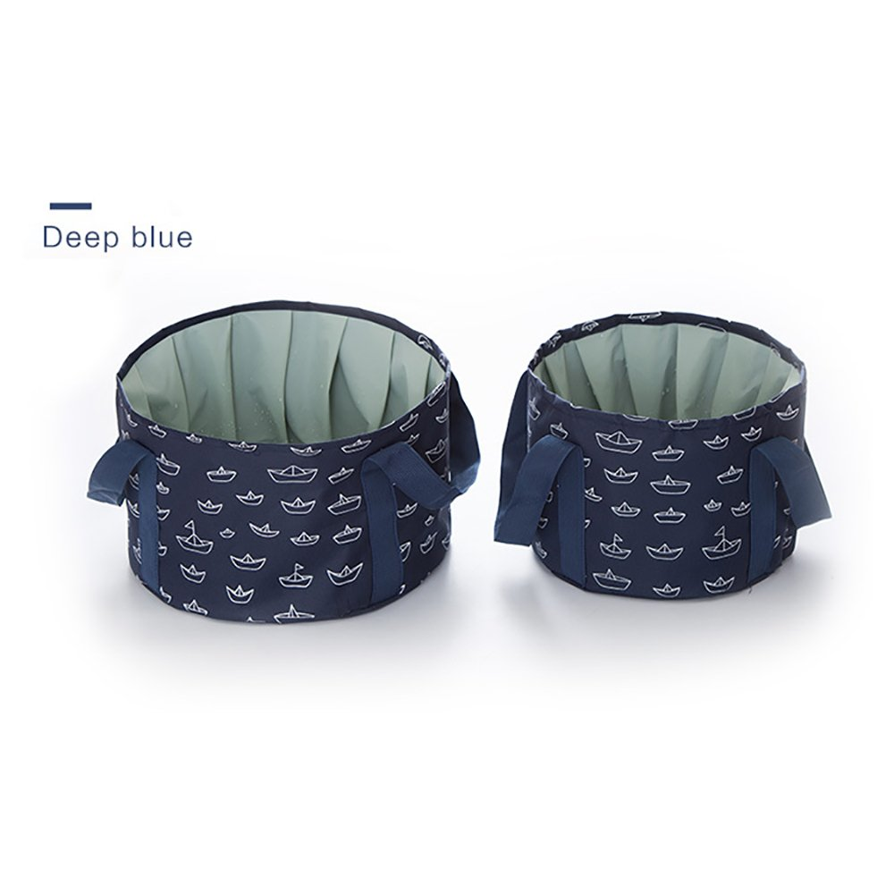 2 Pack Outdoor Portable Collapsible Water Bucket Camp Fishing Travel Picnic Wash Basin (Deep Blue)