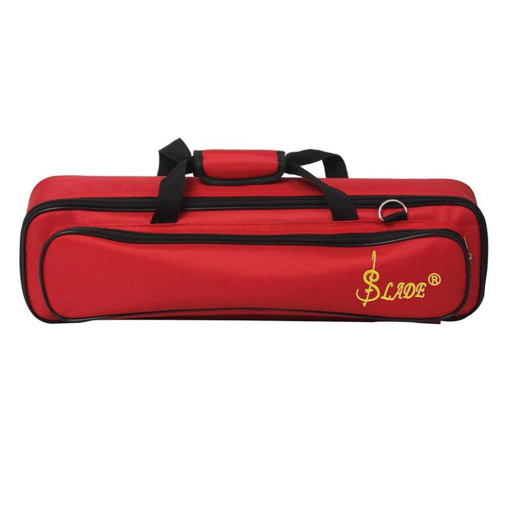Baoblaze Soft Oxford Cloth Flute Case Cover/Bag Gig Prop w/ Side Pocket Handle Strap Rose Red