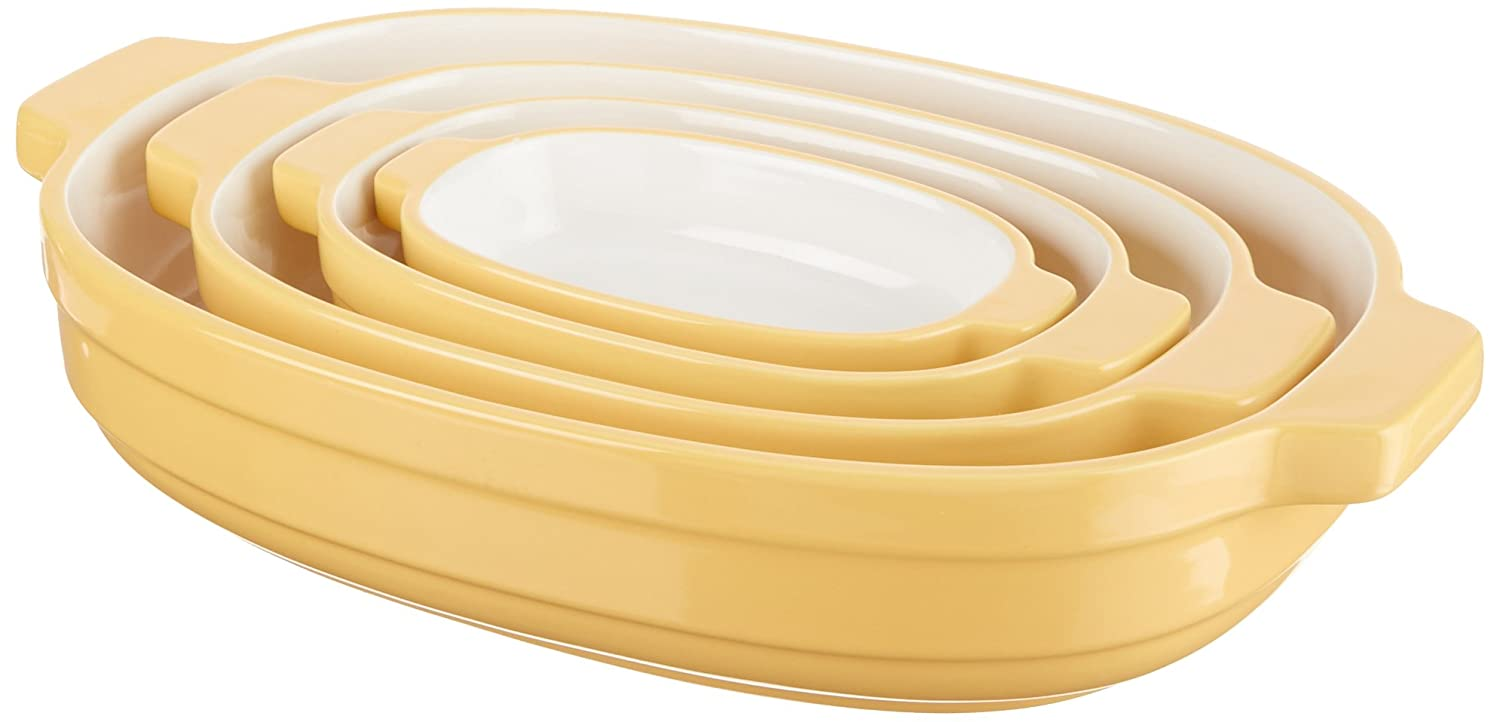 KitchenAid KBLR04NSBF Nesting Ceramic 4-Piece Bakeware Set - Butter Cup