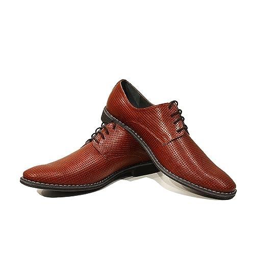 Modello Domenico - 41 EU - Cuero Italiano Hecho A Mano Hombre Piel Rojo Zapatos Vestir Oxfords - Cuero Cuero Repujado - Encaje rYNsdW