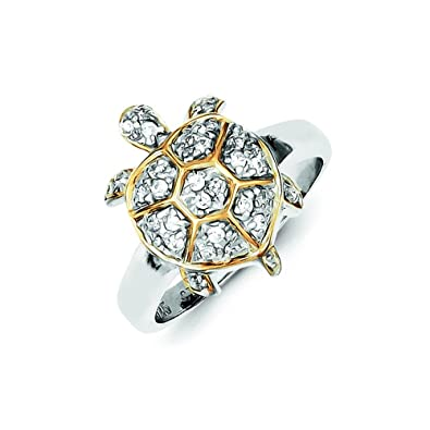 Amazon Com Sterling Silver Center Cz And Gold Plated Turtle Ring