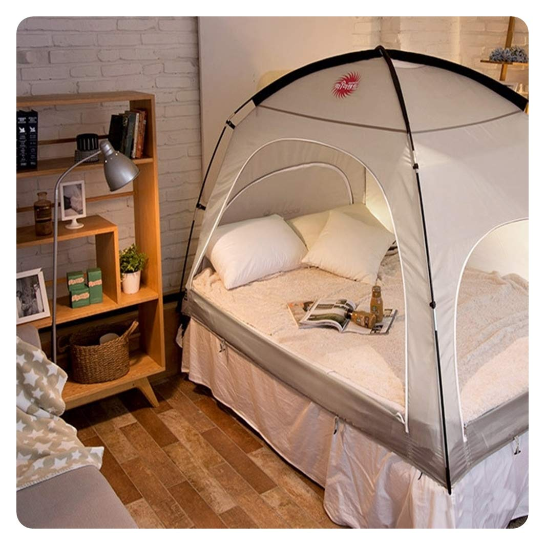 DDASUMI Warm Tent for Double Bed Without Floor (Brown Grey)