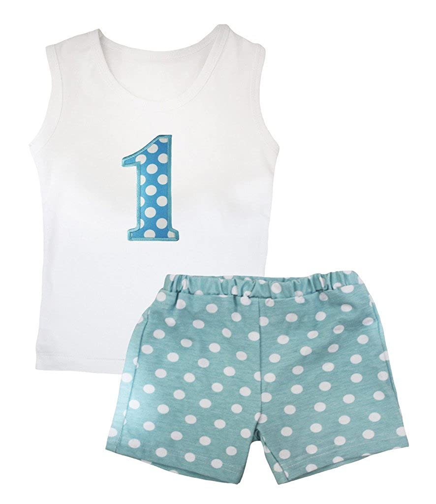 Petitebella Birthday 1st White Vest Polka Dots Light Blue Short Set 1-8y