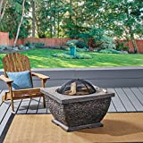 Great Deal Furniture Laraine Outdoor 32″ Wood Burning Light-Weight Concrete Square Fire Pit, Grey