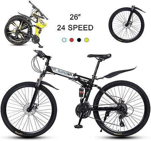 Super-ZS Bicicleta De Montaña De 26 Pulgadas, Plegable (suspensión Delantera/Central) Ruedas De Radios De 30 Palas Freno De Disco Doble Mecánico De 24 Velocidades Bicicleta De Todoterreno para Hombre: Amazon.es: Hogar