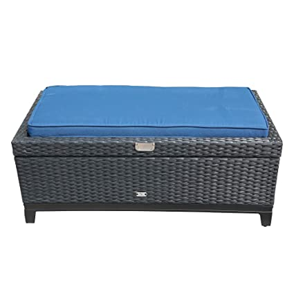 Surprising Orange Casual Outdoor Patio Storage Ottoman All Weather Wicker Rattan Ottoman With Cushiongas Lift Aluminum Frame Black Dark Blue Striped Cushion Ocoug Best Dining Table And Chair Ideas Images Ocougorg