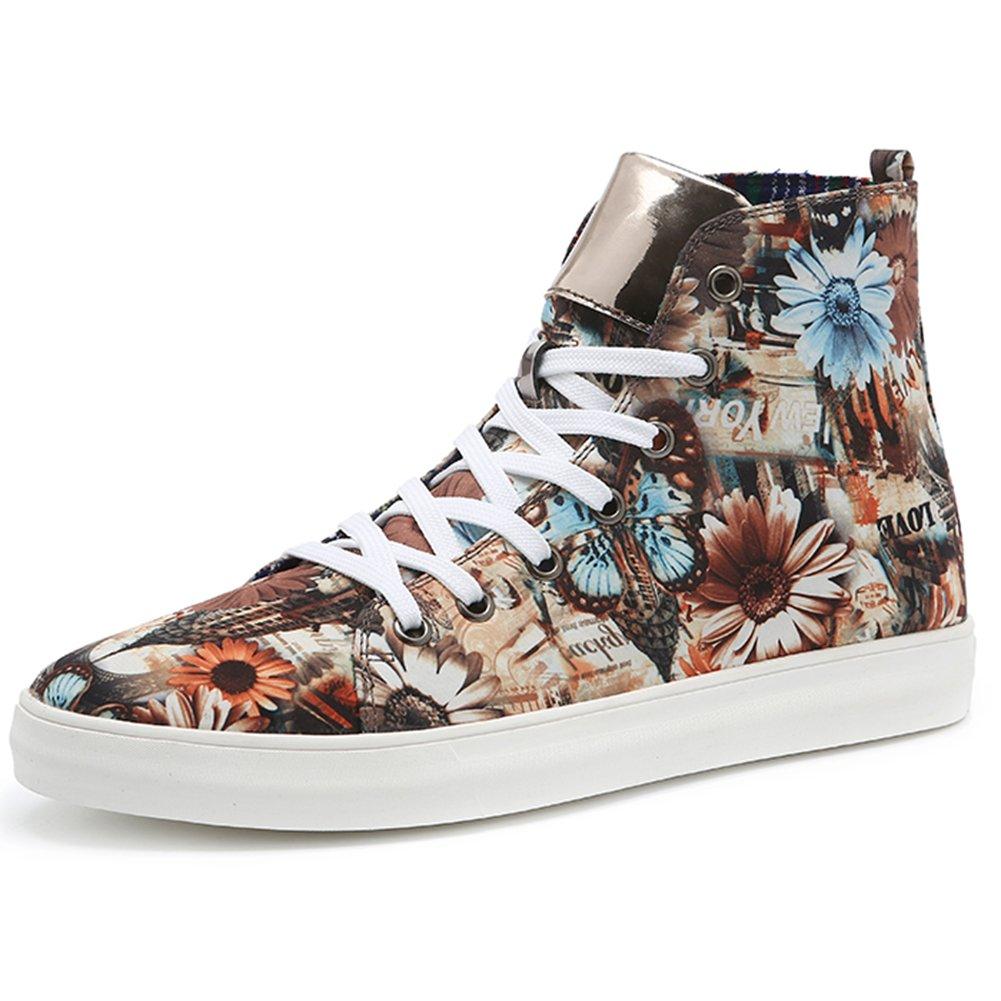 ファッションハイトップスニーカーカジュアルキャンバス靴スケートシューズメンズブルー/イエロー B074NX144L  イエロー 4.5 D(M) US Male