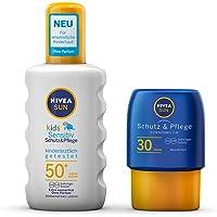 NIVEA SUN Kids Sensitiv solspray gratis resestorlek solmjölk (1 x 200 ml 1 x 50 ml), solspray med SPF 50+, sollotion för…