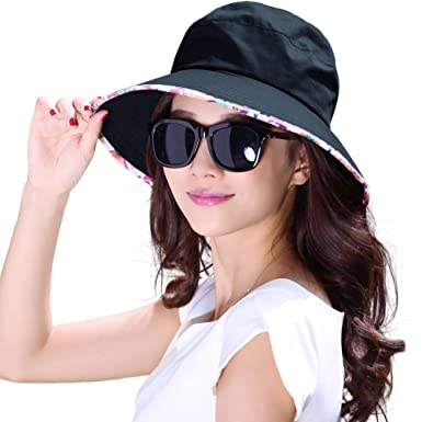 7cc10c66 Siggi Ladies Summer Bucket Sun Hat Cord Fishing Beach UV Cap Wide Brim  Bonnie for Women Navy: Amazon.co.uk: Clothing