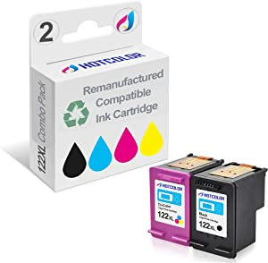 HOTCOLOR 2Pack 122 XL Black/Color Replacement for HP 122 XL Ink Cartridge Work for HP Deskjet 1000 1050 2050 2050s 3000 3050A Laser Printer