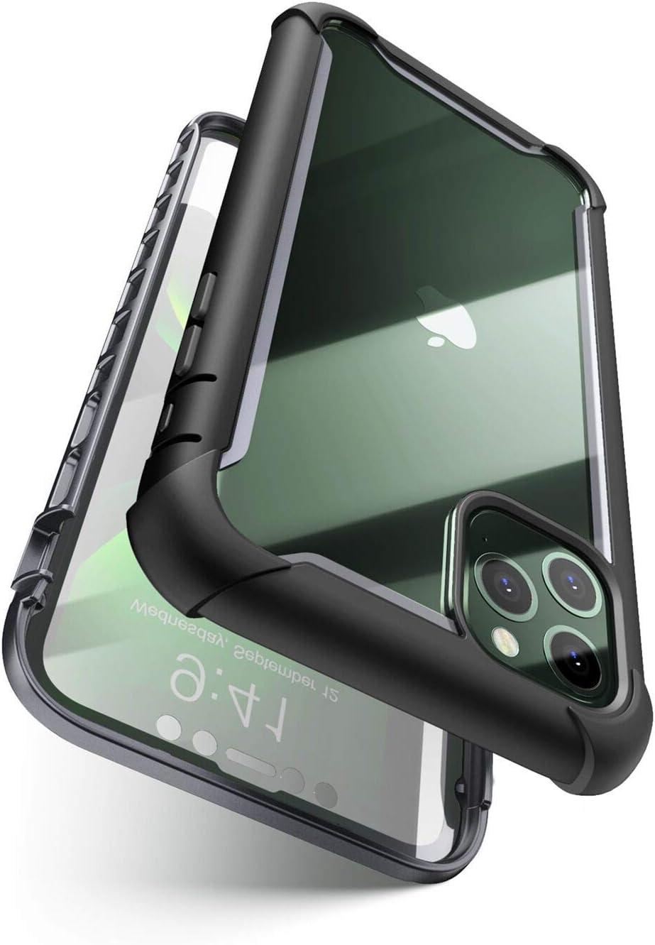 i-Blason Serie Ares per iPhone 11 Pro da 5,8 pollici (versione 2019), robusta custodia antiurto trasparente con pellicola protettiva integrata (nero)