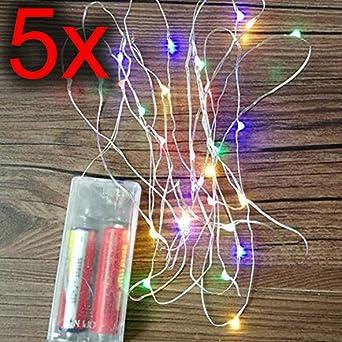 Pack de 5 luces LED multicolor alimentadas por pilas con 20 luces: Amazon.es: Iluminación