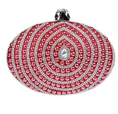 Clutch Glitter Beaded Bridal Shoulder Diamante Red Prom Clubs For Purse Women Party Bag Ladies Bag Oval Evening Gift Wedding Handbag dxBF0q