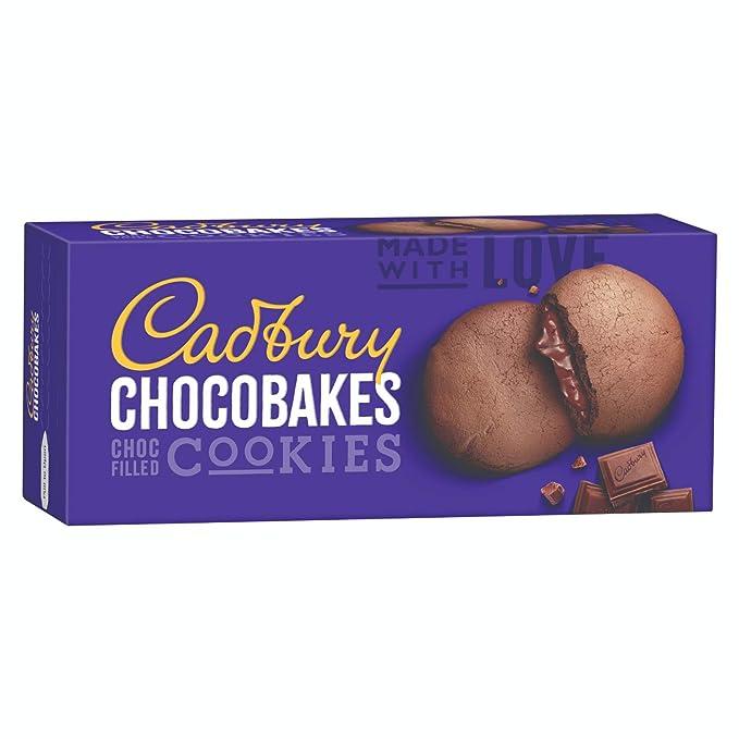 Cadbury Biscuits Chocobakes Choc Filled Cookies, 75g - Pack of 10