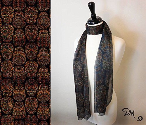 Sugar Skull Art Scarf by Dan Morris