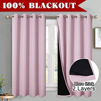 Pony Dance Pink Blackout Curtains 100 Blackout Curtain Set With Liner For Girls Gift Room Darkening Sound Proof Window Treatment For Baby S Good