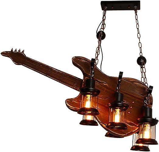Barco de hierro Lámpara de madera con forma de guitarra Lámpara de ...