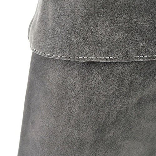 Cours Haut Fermeture Talon Eclair Femmes Gray Longue Chaussures Cuissarde Su Bottes Taoffen Au Genou 8E0nRSv