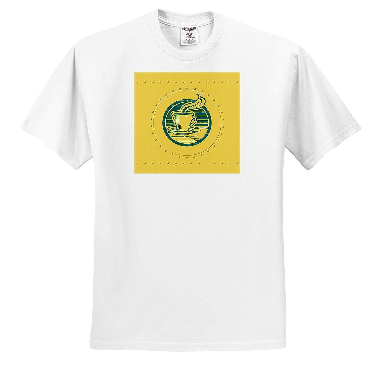 Not Actual Metal Tea Coffee Sign on Yellow Metal Rivet Effect T-Shirts 3dRose Russ Billington Designs