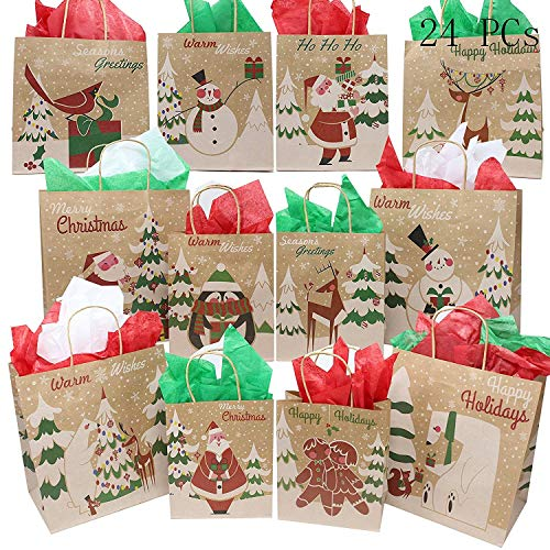 JOYIN 24 Christmas Kraft Gift Bags with Assorted Christmas Prints for Kraft Bags Christmas Goody Bags Xmas Gift Bags School Classrooms and Party Favors by Joiedomi