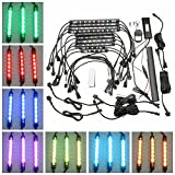 HITSAN 10pcs Waterproof RGB LED Flexible NEON Strip Light Kit For Motorcycle Auto ATV One Piece
