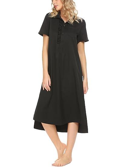 69f3ebb5ce Acecor Women Cotton Short Sleeve Nightgown Solid Long Sleepwear (Black