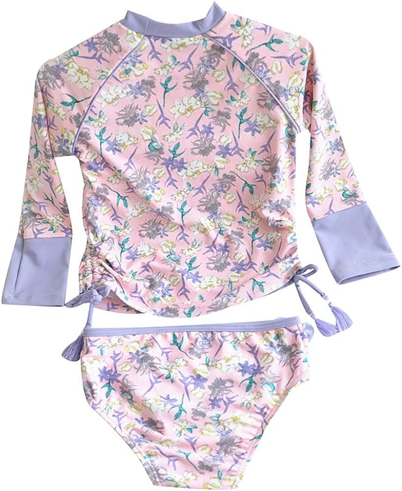 Happy childhood Kids Swimsuits Girls Two-Piece Long Sleeve Swimsuits Super Cute Princess Bathing Suit UPF50 Rash Guard