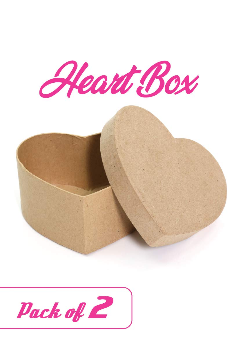Paper Mache Heart-Shaped Box 4.5 x 4.5 x 2 Pack of 1 DIY Valentine Boxes for Crafts