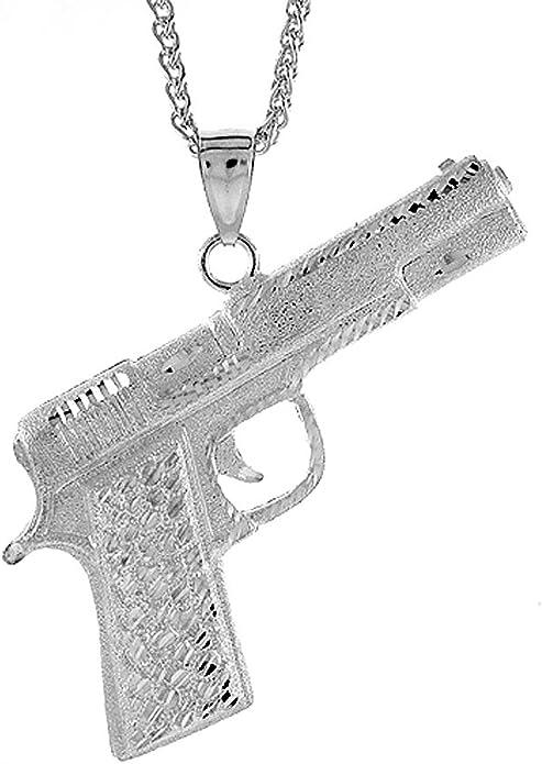 Large bronze revolver pistol pendant necklace with bronze rhinestone clover pendant earrings