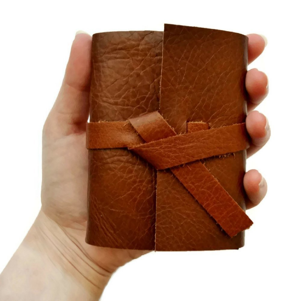 3163ac79d8d2 Personalized Leather Sketchbook Mini Notebook with Blank Pages, Pocket Note  book, Field Notebook Small Travel Journal, Golden Brown Leather Book ...