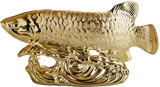 x 4 Wenmily H x 4 W H Office Living Room Decoration x 8 Golden Dragon Fish L 9 W Best Gift for Business Opening,Feng Shui Decor L Large Size Feng Shui Wealth Arowana 9 x 8 Lucky Fish Statue Figurine