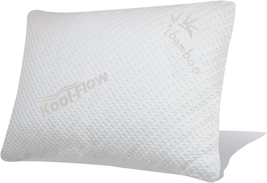 Snuggle-Pedic Ultra-Luxury Bamboo Shredded Memory Foam Pillow Combination with Kool-Flow Breathable Cooling Hypoallergenic Pillow Outer Fabric Covering - Standard (No Zippers)