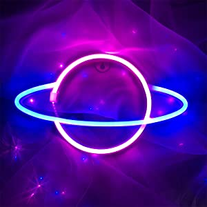 ENUOLI Planet Neon Lights LED Planet Modeling Signs USB or Battery Operated Lamp Shop Window Wall Hanging Neon Sign Light Up for Home Bar Decor Christmas Xmas Wedding Party (Blue Pink)