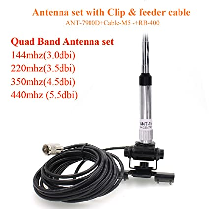 Mobile Radio Quad Band Antenna 144/220/350/440MHz for QYT KT-7900D Car  Mobile Radio QYT KT-7900D +RB400 with Cable M5