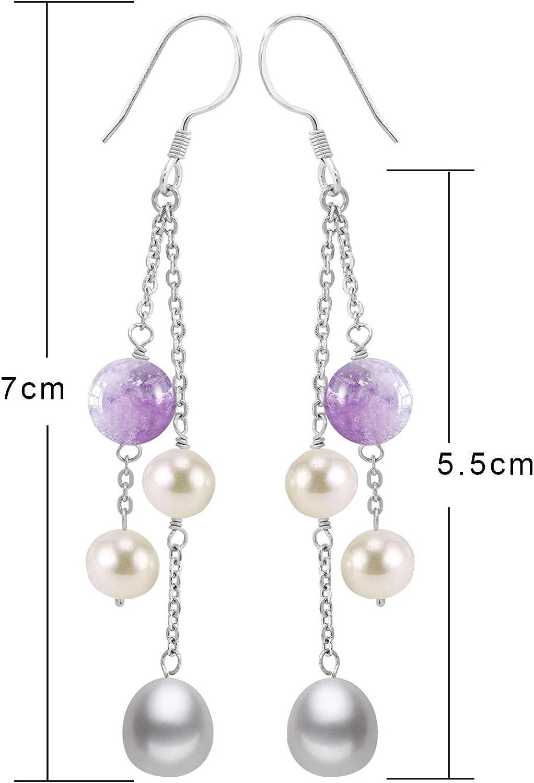 New Pair Natural Lavender Jade 925 Sterling Silver Hook Hoop Dangle Earrings