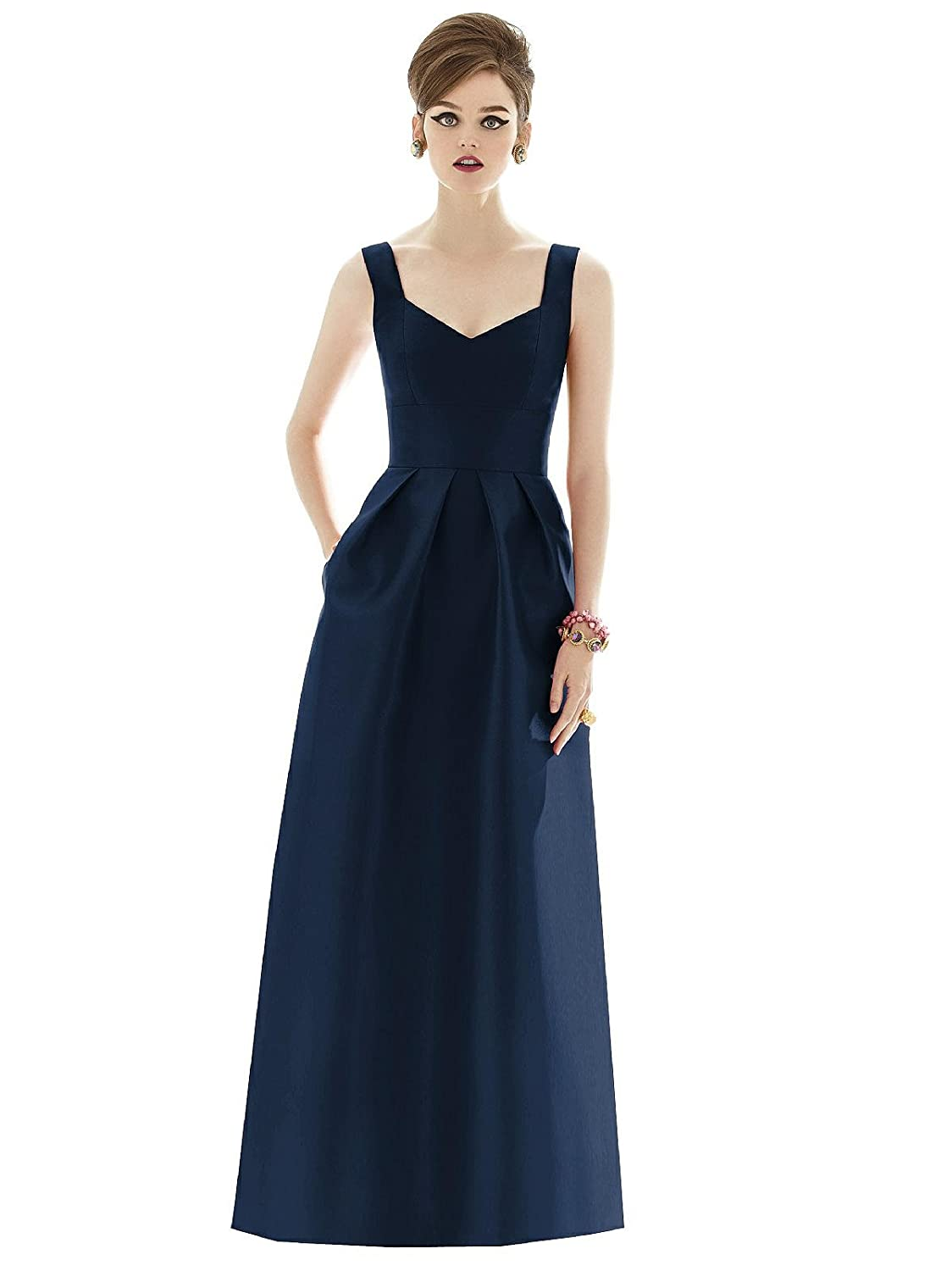 Alfred Sung Dessy Womens Full Length Sleeveless Sateen Twill Dress with Sweetheart Neckline