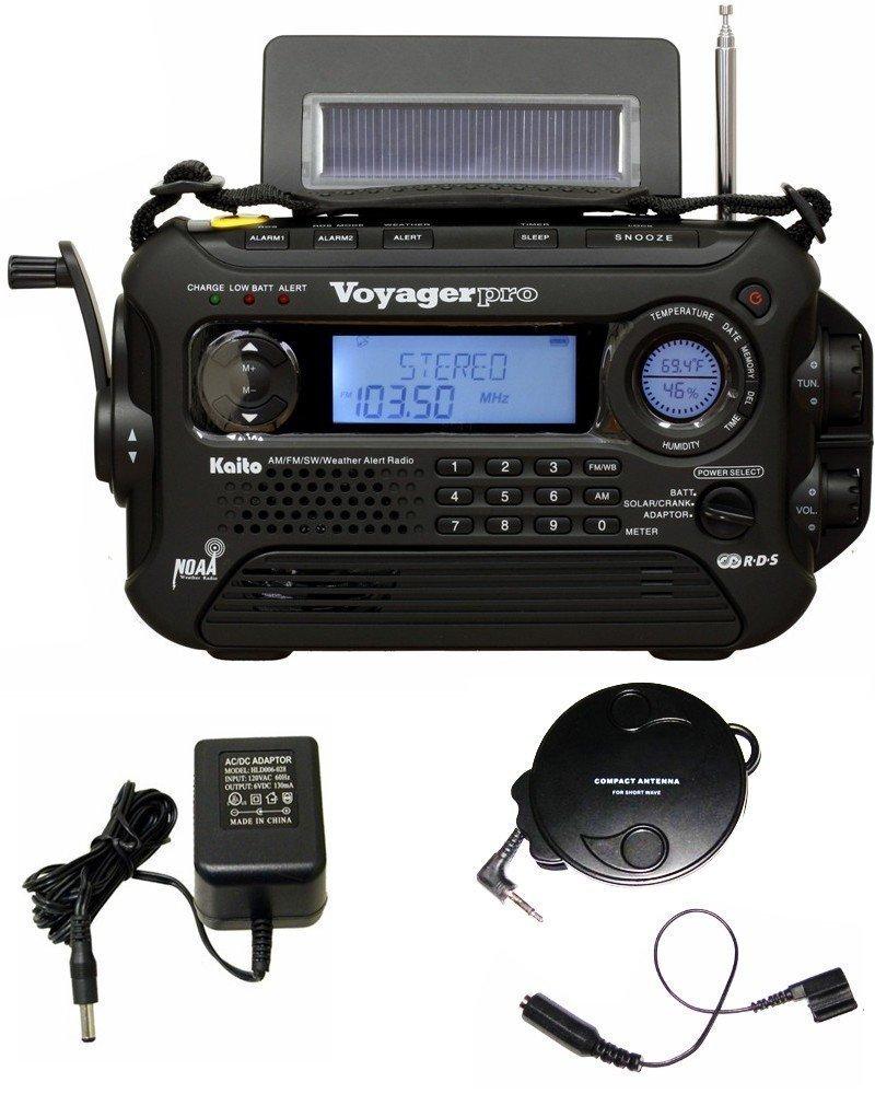 KA600 BLACK Solar/Crank AM/FM/SW NOAA Weather Radio, BONUS AC adapter/charger, Bonus Reel Antenna, 5-LED reading lamp, 3-LED flashlight by ER-RADIO