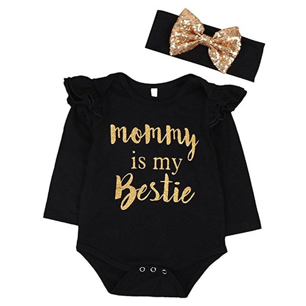 """Newborn Baby Girls Clothes Floral """"Mommy is My bestie"""" Bodysuit Romper+headband (12-18 Months, Black)"""