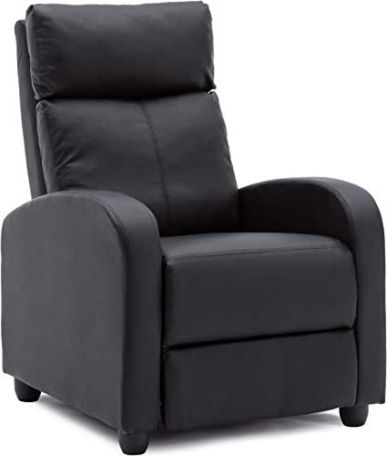NOBPEINT Recliner Chair Black Lounger Fabric Living Room Recliner Modern Recliner Sofa Seat Home Theater