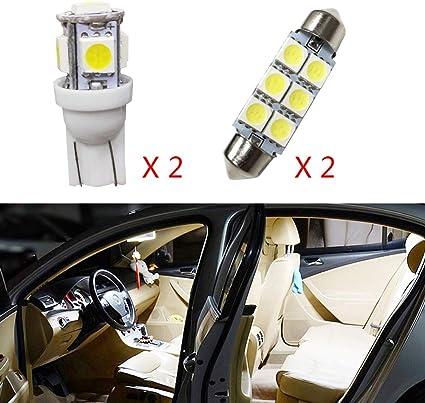 para Carens Super Brillante Fuente de luz LED Interior L/ámpara de Coche Bombillas de Repuesto Blanco Paquete de 4
