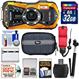 Ricoh WG-50 Waterproof/Shockproof Digital Camera (Orange) 32GB Card + Battery + Case + Selfie Stick + Strap + Kit