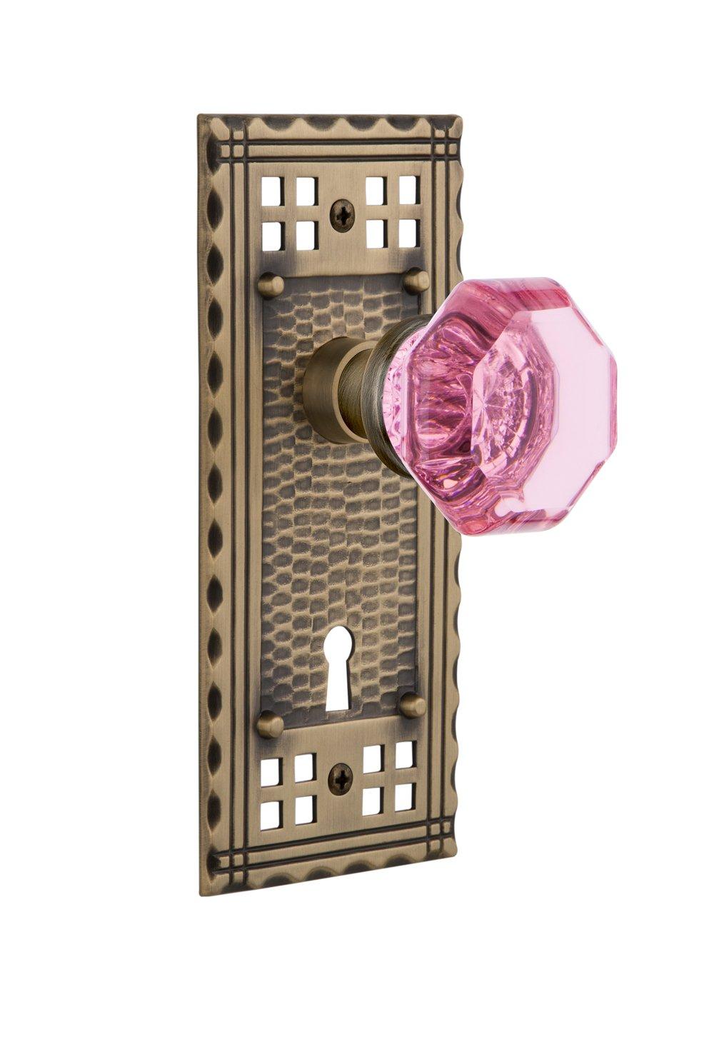 Nostalgic Warehouse 726136 Craftsman Plate Interior Mortise Waldorf Pink Door Knob in Antique Brass