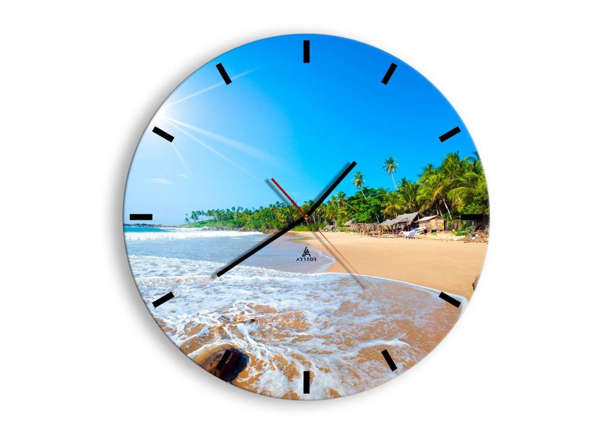prete a Suspendre M/écanisme d/écoulement D/écoration Horloge Murale Horloge en Verre Ronde Silencieux Pret a accrocher Pendule murales 2391 C1AR30x30-2391 30x30cm Moderne