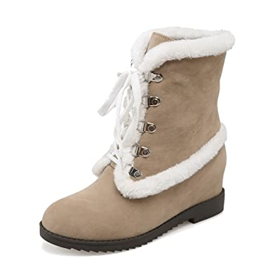 Women's Frosted Round Closed Toe High Heels Lace Up Solid Boots Apricot 34