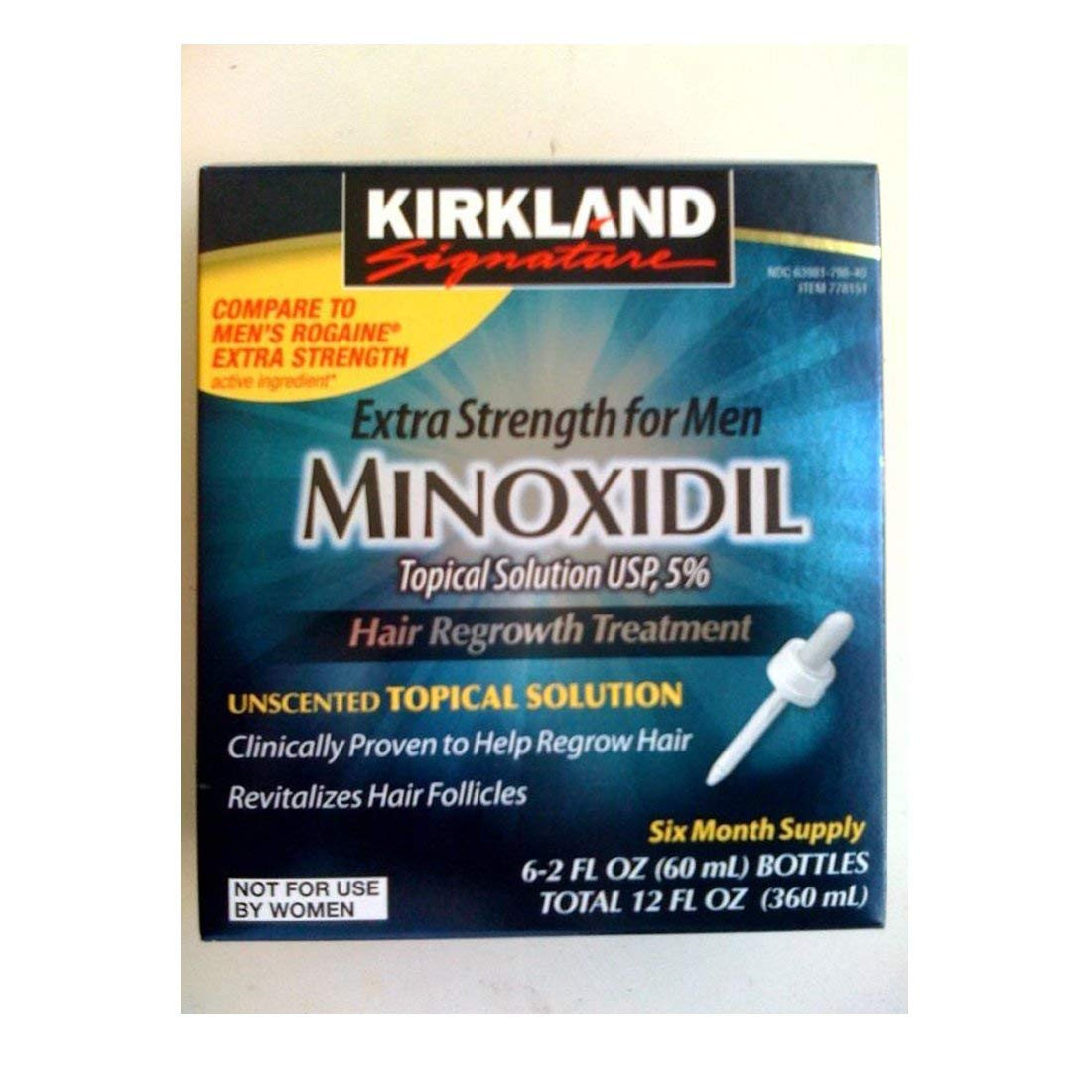 6 Months Kirkland Minoxidil 5% Extra Strength Topical Solution Regrowth for Men