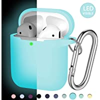 Hamile Compatible with AirPods Case [Front LED Visible] Soft Silicone Protective Cases Cover Skin Designed for Apple AirPod 2 & 1, Women Men, with Keychain (Light Blue-Nightglow Blue)