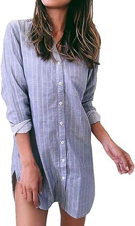 Vestidos Mujer Casual Rayas Verticales Vestido Primavera Un Solo Pecho Manga Larga Otoño Hem Abiertas Especial Estilo Vestidos De Camisa Vestidos Camiseros: Amazon.es: Ropa y accesorios