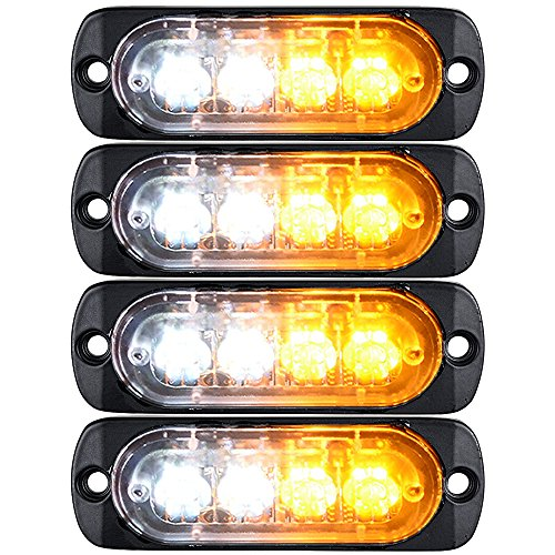 4pcs Amber/White Ultra Slim 12W 4-LED Warning Emergency Construction Strobe Lights For Car Truck Jeep 4×4 ATV UTV SUV Van